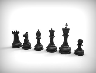 Black chess pieces on background.