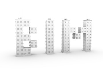 BIM in a multi-storey home white background 3D illustration