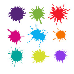 Collection of paint splash. Vector set  brush strokes. Isolated on white background
