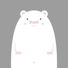 cute big fat white mouse on gray background