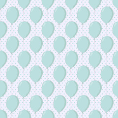 Floating Baloons on Polka Dot Seamless Pattern