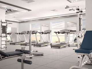 interior of new modern gym with equipment. 3d illustration