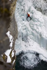 Ice climber in Johnstone  Canyon,  Alberta, Canada