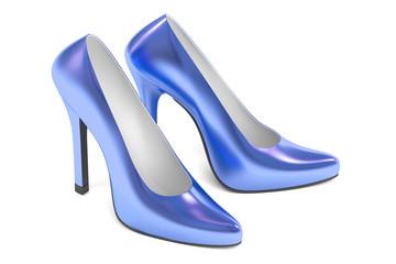 blue high heel shoes, 3D rendering