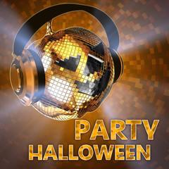 Disco ball halloween pumpkin shine with headphones.Party
