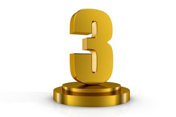 3d illuminated number 3