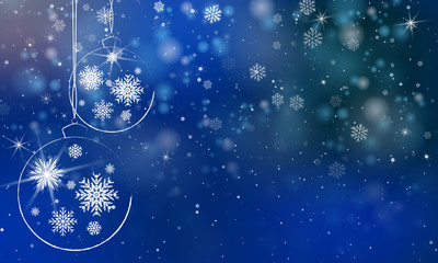 New Year's background is blue with snowflakes