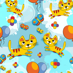 Vector seamless pattern with cute kittens, butterfly, flowers, balloons. Baby background for fabric, paper, interior design or clothing.