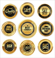 Golden retro vintage badges collection