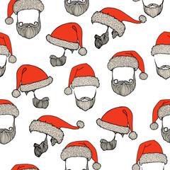 Stylish Santa. Hats and beards. Seamless pattern.