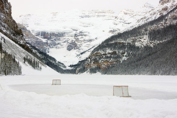 Ice Hockey rink on Lake Louise, Banff National Park, Alberta, Canada