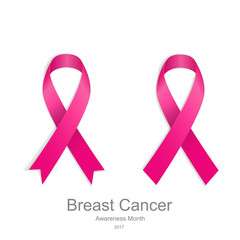 Set pink ribbons Breast Cancer. Women healthcare