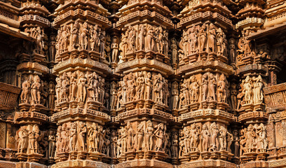 Wall Mural - Famous sculptures of Khajuraho temples, India