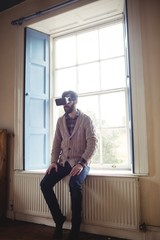 Man using virtual glasses