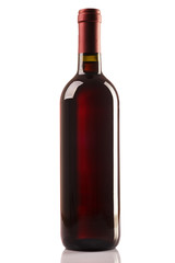 Red bottle isolated on white background