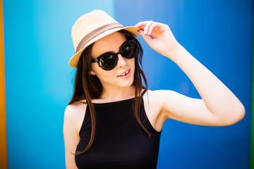 Summer girl over colorfull background