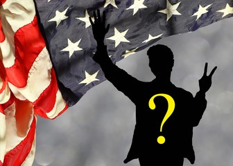 Vote 2016 Trump vs Clinton: who will be the next US President? Rippled american flag corner curtain against blurred sparkling background with silhouette of the next president