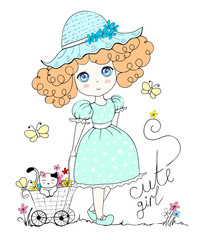 illustration with cute little girl and cat, flowers, butterfly. In pastel color