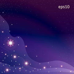 Abstract background. Night sky with stars and fog. Dark colors.
