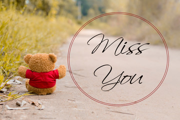 lonely teddy bear with word Miss You