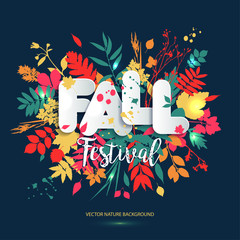 Text fall festival in paper style on multicolor background with