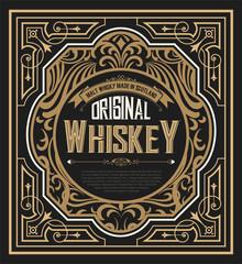 Old  label design for Whiskey and Wine label, Restaurant banner,