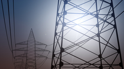 Power pylons and wires against cloudless sky, 3D rendering