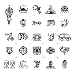 E-commerce outline web icons. Set for e-shop design in a boho and tribal style. Bohemian icons good for internet shopping projects. Vector illustration