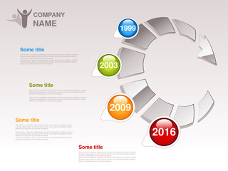 Vector timeline. Infographic template for company. Timeline with colorful milestones - blue, green, orange, red. Pointer of individual years.