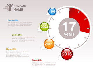 Vector timeline. Infographic template for company. Timeline with colorful milestones - blue, green, orange, red. Pointer of individual years. Graphic design with clock. Profile of company.