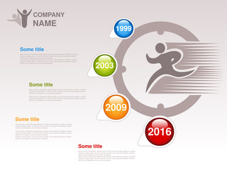 Vector timeline. Infographic template for company. Timeline with colorful milestones - blue, green, orange, red. Pointer of individual years. Graphic design with clock and fast runner