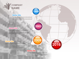 Vector timeline. Infographic template for company. Timeline with colorful milestones - blue, magenta, orange, red. Graphic design with globe and background of business building