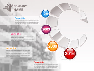 Vector timeline. Infographic template for company. Timeline with colorful milestones - blue, magenta, orange, red. Graphic design with arrow and background of business building