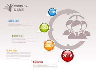 Vector timeline. Infographic template. Timeline with colorful milestones - blue, green, orange, red. Pointer of individual years. Design with clock and silhouettes businessmen,