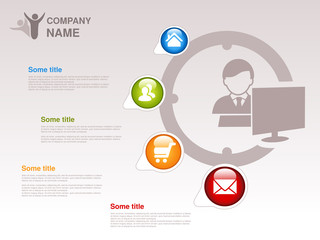 Vector profile of company.  Infographic template. Symbol of businessman with computer. Blue, green, orange and red button with Home symbol,  About us symbol, Product or Buy symbol and Contact symbol.