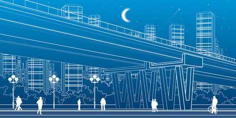 Flyover, architectural and infrastructure illustration, transport overpass, highway, white lines urban scene, people walking, night city on background, vector design art