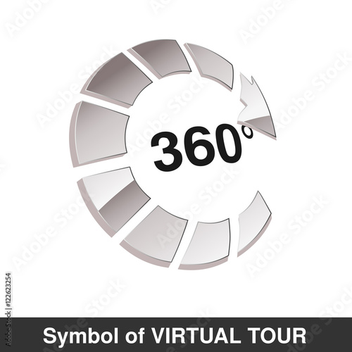 Vector Symbol For Virtual Tour Glossy Silver Arrow Button With