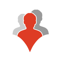 Vector together joined people icon. Red and grey community symbol. Human sign of three partners. Silhouttes of body. Symbol of succes.