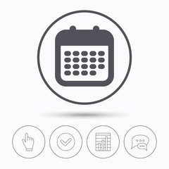 Calendar icon. Events reminder sign.