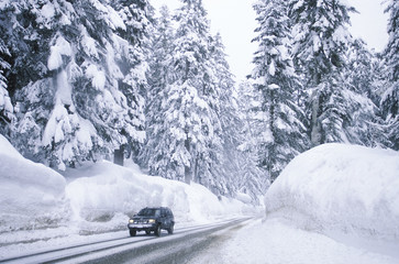 Vehicle drives on a snowy road, British Columbia, Canada.
