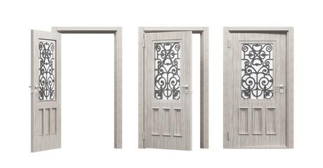 Tre porte in legno con vetro decorato antiche render