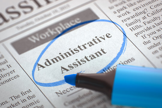 Job Opening Administrative Assistant. 3D.