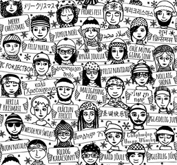 "Seamless pattern of a group of hand drawn people holding ""Merry Christmas"" signs in different languages, black and white illustration"