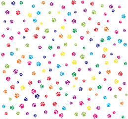 Pet paws colorful on white seamless pattern background.