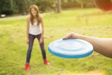 Catch the frisbee