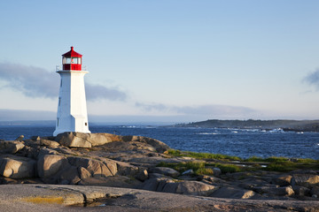 Iconic lighthouse at Peggy's Cove, Nova Scotia