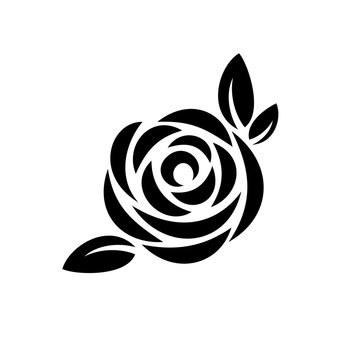 Rose flower with leaves black silhouette logo.
