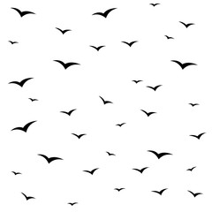 Seagulls swarm or other black birds silhouette seamless pattern