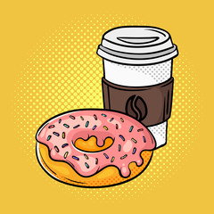 Vector hand drawn pop art illustration of donut and coffee