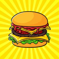 Vector hand drawn pop art illustration of hamburger.